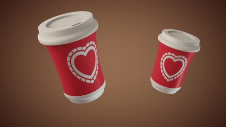 xícara de café : Bouncing coffee cups with Hearts