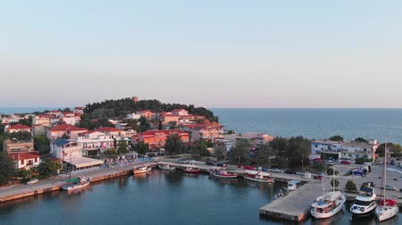 fishing village : Port of Fanari Rodopi Greece Stock Footage