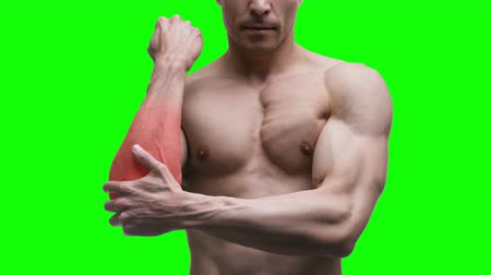 рука : Pain in the elbow, muscular male body on a green background, chroma key 4K video