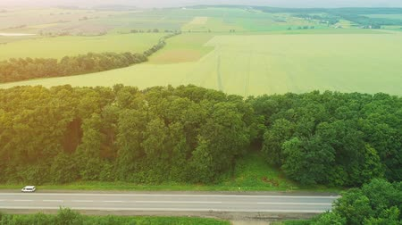 Cinematic overhead aerial view of moving cars, being on a road trip, through amazing landscape. 4K. Stock mozgókép