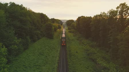 Freight train carries an electric locomotive by two-sided winding railways with railroad crossing dense forest. 4K.