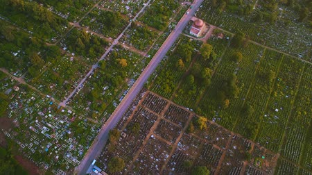 buried : Top aerial view of greenwood cemetery in countryside area. 4K. Stock Footage