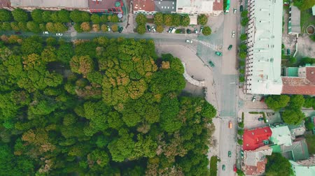 autobahn : Aerial top view of dense planted town with fast cars moving. 4K.