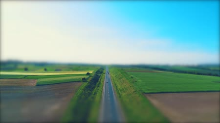 Aerial blurred view of different type cars driving along the empty gravel road through green meadows and agriculture fields landscape. 4K. Filmati Stock
