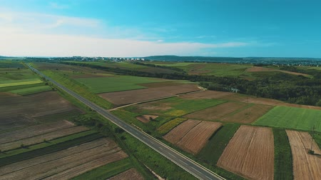 Aerial view of the road between fields. Summer colors. Aerial of green countryside and cars driving through. 4K. Stock mozgókép