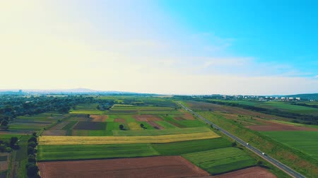 Aerial flight over the road between fields, there is rainbow blick on the beginning of the footage and blue sky is full of light and warmth. 4K. Filmati Stock