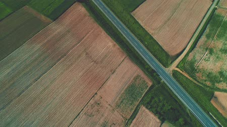 Aerial flight over the road between fields. 4K.