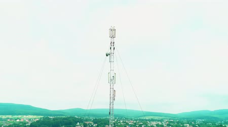 tv tower : Drone view over and round the television tower. 4K. Stock Footage