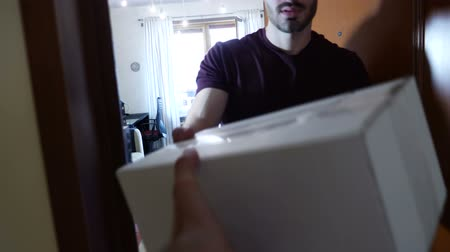 receber : Young casual man standing near opened door of apartment and observing received package. Seen from the point of view of the courier Stock Footage