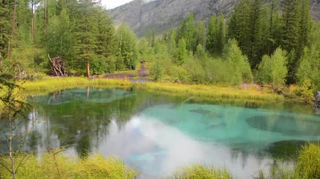 tökfej : Blue geyser lake in Altay mountains. Siberia. Russia. Panorama.