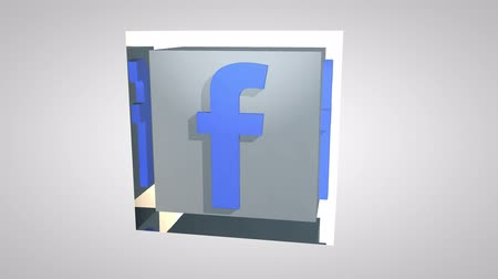 periscope : Editorial Animation: 3D Rotating Facebook logo cube.