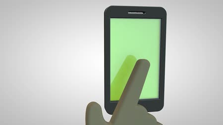 impressão digital : Scanning a fingerprint for security purpose on a smartphone, 3D animation HD