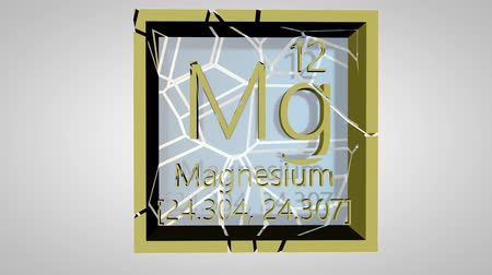 mg : Magnesium. Element of the periodic table of the Mendeleev system. IUPAC version is dated 28 November 2016. Standard atomic weight. 3D animation alpha PNG.