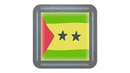 tome : Sao Tome and Principe flag waving in the wind on white isolated background. Icon in the frame. Animation loop. Element for web site, presentation, import into video.