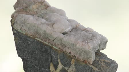 Quartz vein on tuffstone, contact zone, small translucent quartz crystals