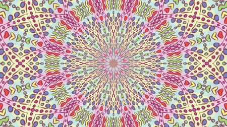 round ornament : Colorful looping kaleidoscope sequence. Abstract motion graphics background.