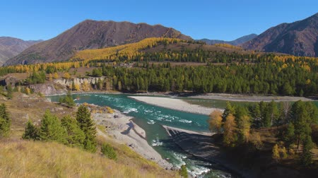 River Katun and river Ursul in Altai mountains. Siberia, Russia.
