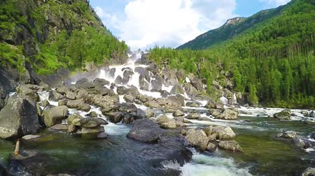 zuhatag : Waterfall Uchar. The height of the dam is about 300-350 m. The height of the water fall is about 160 m. Altai mountains, Siberia Russia. Live sound