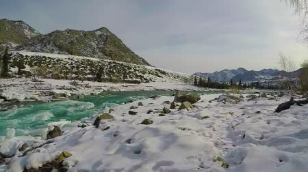草で覆われた : Spring high water on the Katun River, Altai Mountains, Siberia, Russia. Snow and ice on the river bank. Turquoise water and blue sky. Slow motion.