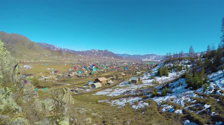 farm house : Panorama of the village Ongudai, Altai, Siberia, Russia.