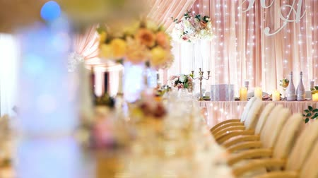ballroom : Festive wedding table with food and drinks. Closeup