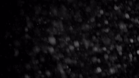 Falling snow at night. Black and white. Close-up and slow motion