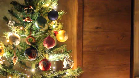 geyik : Christmas background. New Years lights. New years toys Stok Video