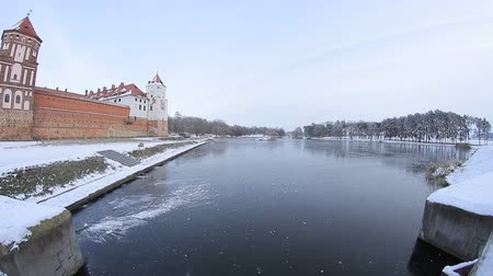 Beautiful lake near the castle at winter