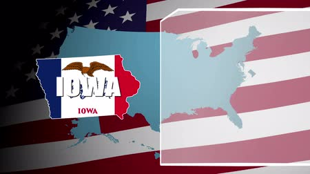 iowa : Iowa Countered Flag and Information Panel Stock Footage