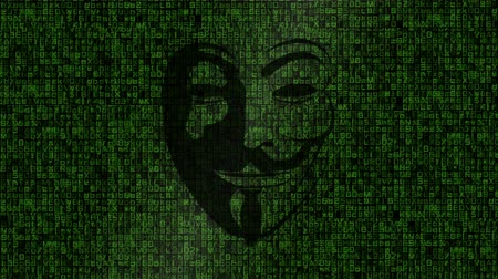 tehdit : Anonymous Face Over Matrix Style Background Stok Video