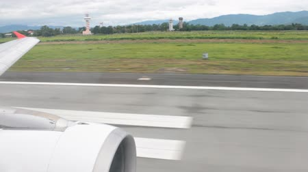 Airplane is Running and Taking Off On Runway Stock mozgókép