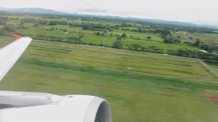 Airplane Take Off With Aerial View Landscape