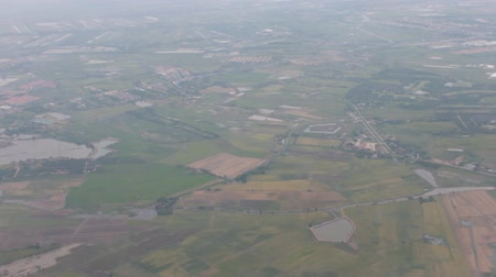 Green landscape or scenery in high angle view or aerial view. Wide area or open space in top view.