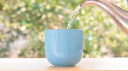 Water pouring into blue cup on green leaves of tree background. Good healthy and slow life concept Stock Footage