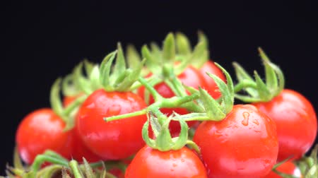 Matts Wild cherry tomato rotate on black background. Fresh red Matts Wild cherry tomato for healthy. Cherry tomato in 4k 3840x2160 hi resolution.