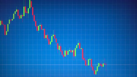 resolution : Stock graph or candlestick Forex chart moving on blue background. Business concept about financial, investment, risk, money trading. Hi resolution footage 4k 3840x2160 Stock Footage