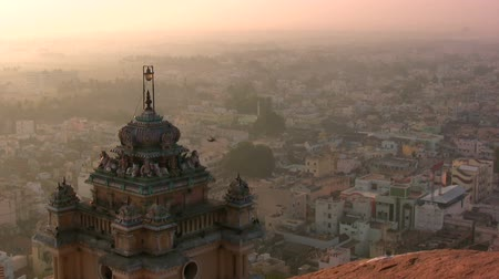 urban skyline : Beautiful temple and skyline. Stock Footage