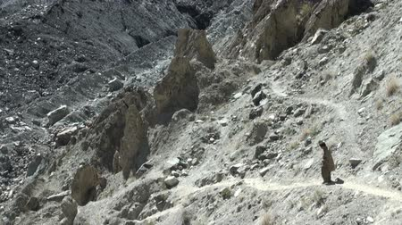 vila : A man walks down a steep path in Northern Pakistan.