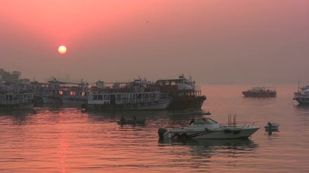 bombay : Tour boats at sunrise in Mumbai. Stock Footage