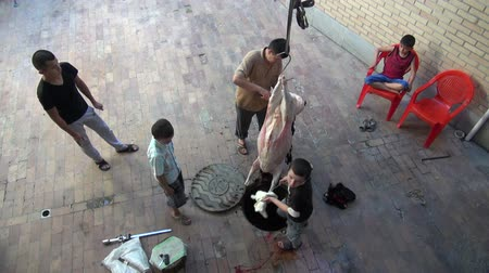 bowels : A butcher is cutting meat after a ritual slaughter in a courtyard home. Stock Footage