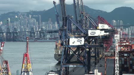 ekonomi : Container terminal in Hong Kong. Stok Video