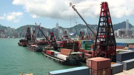 shipping : Container terminal in Hong Kong. Stock Footage