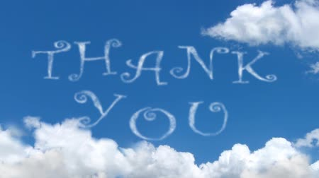 sayesinde : Thank You - cloud words on blue sky Stok Video
