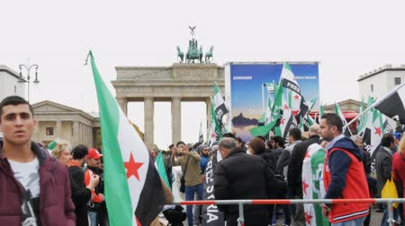 isis : Demonstration of Syrian refugees Berlin, Germany, October 15, 2017