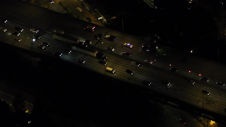havai : Circling view from small airplane of a car crash on interstate at night Stok Video