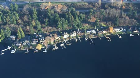 vista frontal : Airplane perspective of luxurious lakeside property and docks Stock Footage