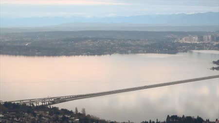 beautiful view : Aerial view of floating bridge on Lake Washington in Seattle