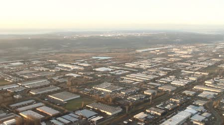 Time lapse from airplane of large industrial area
