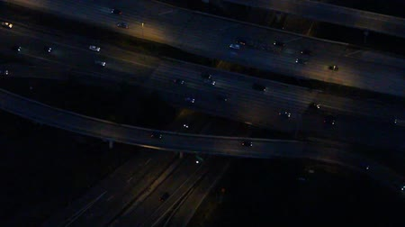 Aerial close-up of interstate traffic at night 影像素材
