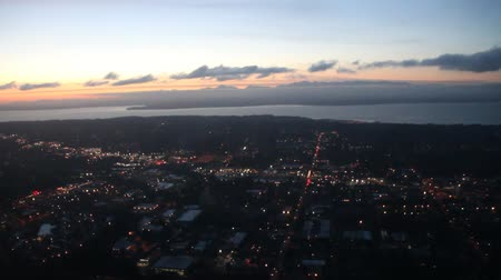 Aerial view over Seattle, WA at dusk